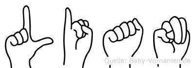 Lian im Fingeralphabet der Deutschen Gebärdensprache