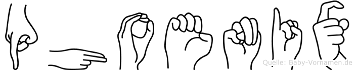 Phoenix im Fingeralphabet der Deutschen Gebärdensprache