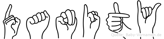 Danity im Fingeralphabet der Deutschen Gebärdensprache