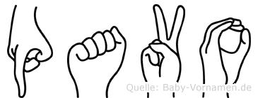 Pavo im Fingeralphabet der Deutschen Gebärdensprache