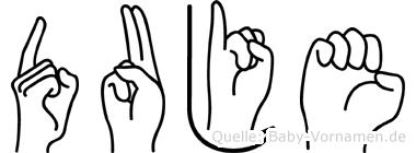 Duje im Fingeralphabet der Deutschen Gebärdensprache
