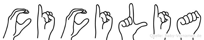 Cicilia im Fingeralphabet der Deutschen Gebärdensprache