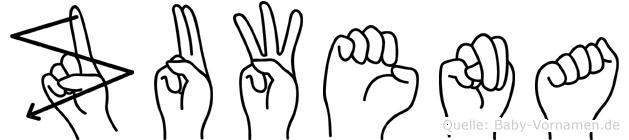 Zuwena in Fingersprache für Gehörlose