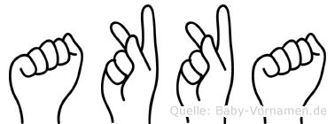 Akka im Fingeralphabet der Deutschen Gebärdensprache