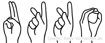 Ukko im Fingeralphabet der Deutschen Gebärdensprache
