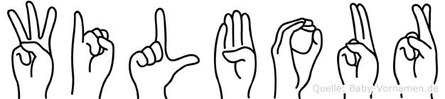 Wilbour im Fingeralphabet der Deutschen Gebärdensprache