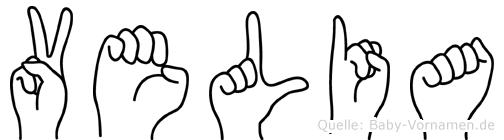 Velia im Fingeralphabet der Deutschen Gebärdensprache