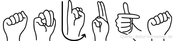 Anjuta im Fingeralphabet der Deutschen Gebärdensprache