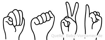 Mavi im Fingeralphabet der Deutschen Gebärdensprache