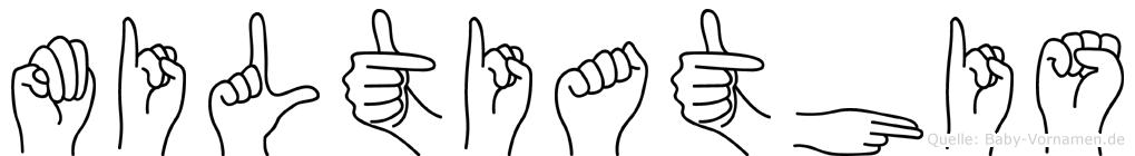 Miltiathis im Fingeralphabet der Deutschen Gebärdensprache
