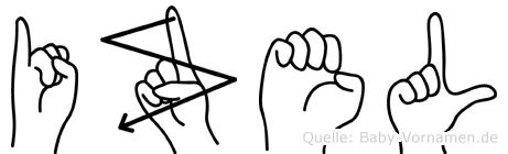 Izel im Fingeralphabet der Deutschen Gebärdensprache