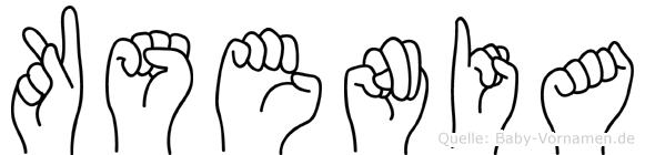 Ksenia im Fingeralphabet der Deutschen Gebärdensprache