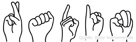 Radin im Fingeralphabet der Deutschen Gebärdensprache