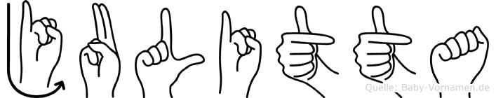 Julitta im Fingeralphabet der Deutschen Gebärdensprache