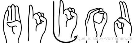 Bijou im Fingeralphabet der Deutschen Gebärdensprache