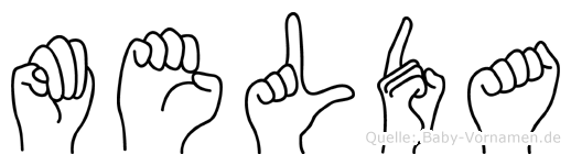 Melda im Fingeralphabet der Deutschen Gebärdensprache
