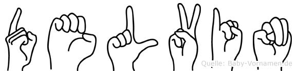 Delvin im Fingeralphabet der Deutschen Gebärdensprache