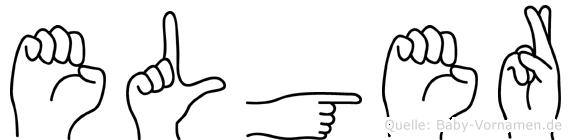 Elger im Fingeralphabet der Deutschen Gebärdensprache