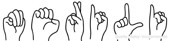 Merili im Fingeralphabet der Deutschen Gebärdensprache