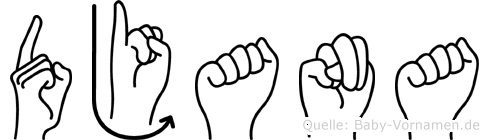 Djana in Fingersprache für Gehörlose