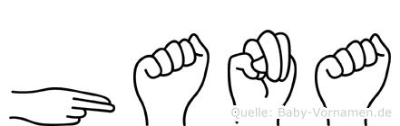Hana im Fingeralphabet der Deutschen Gebärdensprache