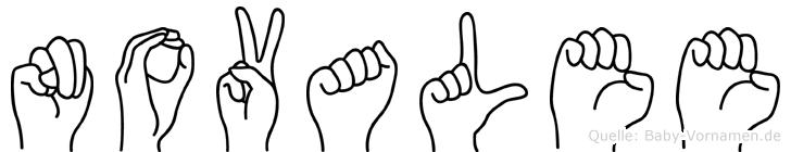 Novalee im Fingeralphabet der Deutschen Gebärdensprache