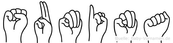 Sumina im Fingeralphabet der Deutschen Gebärdensprache