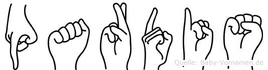 Pardis im Fingeralphabet der Deutschen Gebärdensprache
