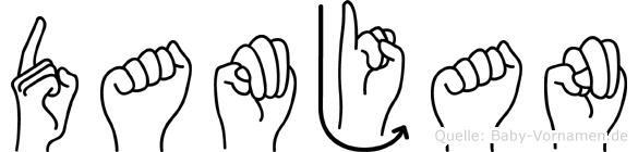 Damjan im Fingeralphabet der Deutschen Gebärdensprache