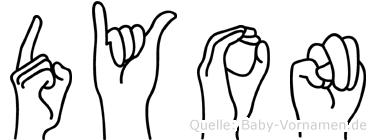 Dyon im Fingeralphabet der Deutschen Gebärdensprache