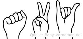 Avy im Fingeralphabet der Deutschen Gebärdensprache