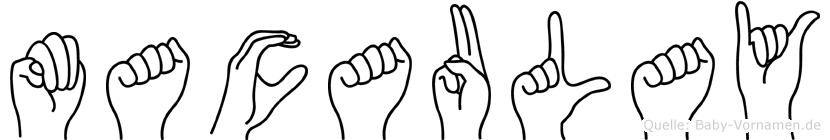 Macaulay im Fingeralphabet der Deutschen Gebärdensprache