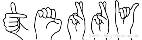 Terry im Fingeralphabet der Deutschen Gebärdensprache