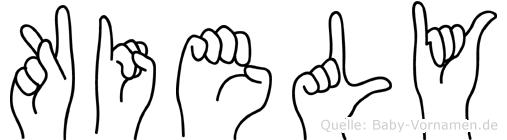 Kiely im Fingeralphabet der Deutschen Gebärdensprache
