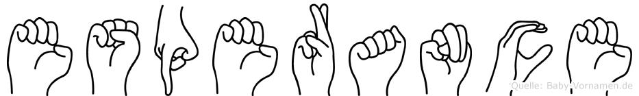 Esperance im Fingeralphabet der Deutschen Gebärdensprache