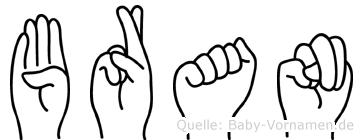 Bran im Fingeralphabet der Deutschen Gebärdensprache