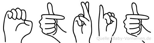 Etrit im Fingeralphabet der Deutschen Gebärdensprache