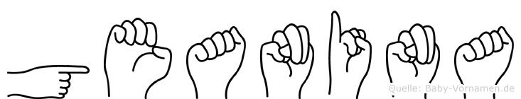 Geanina im Fingeralphabet der Deutschen Gebärdensprache