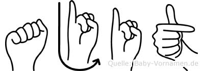 Ajit im Fingeralphabet der Deutschen Gebärdensprache