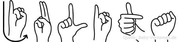 Julita im Fingeralphabet der Deutschen Gebärdensprache