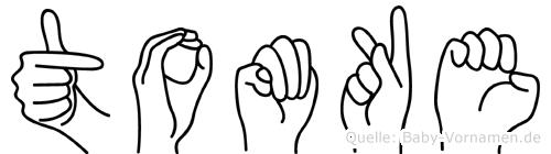Tomke im Fingeralphabet der Deutschen Gebärdensprache