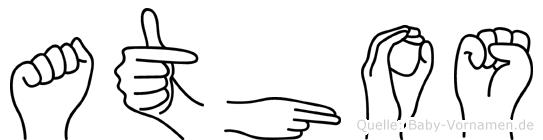 Athos im Fingeralphabet der Deutschen Gebärdensprache