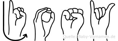 Josy im Fingeralphabet der Deutschen Gebärdensprache