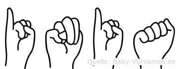 Inia im Fingeralphabet der Deutschen Gebärdensprache