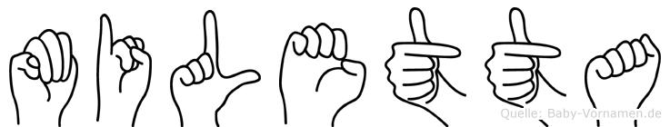 Miletta im Fingeralphabet der Deutschen Gebärdensprache