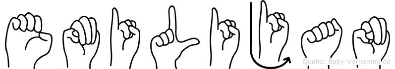 Emilijan im Fingeralphabet der Deutschen Gebärdensprache