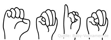 Emin im Fingeralphabet der Deutschen Gebärdensprache