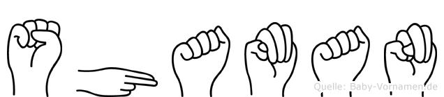 Shaman im Fingeralphabet der Deutschen Gebärdensprache