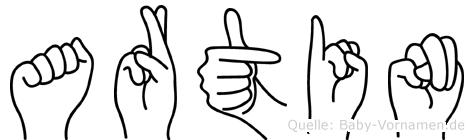 Artin im Fingeralphabet der Deutschen Gebärdensprache