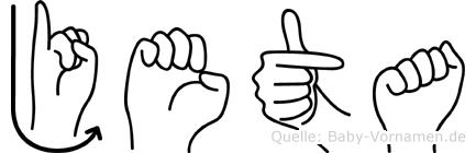 Jeta im Fingeralphabet der Deutschen Gebärdensprache